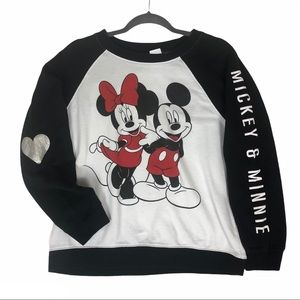 Disney Mickey & Minnie long sleeve sweater top L
